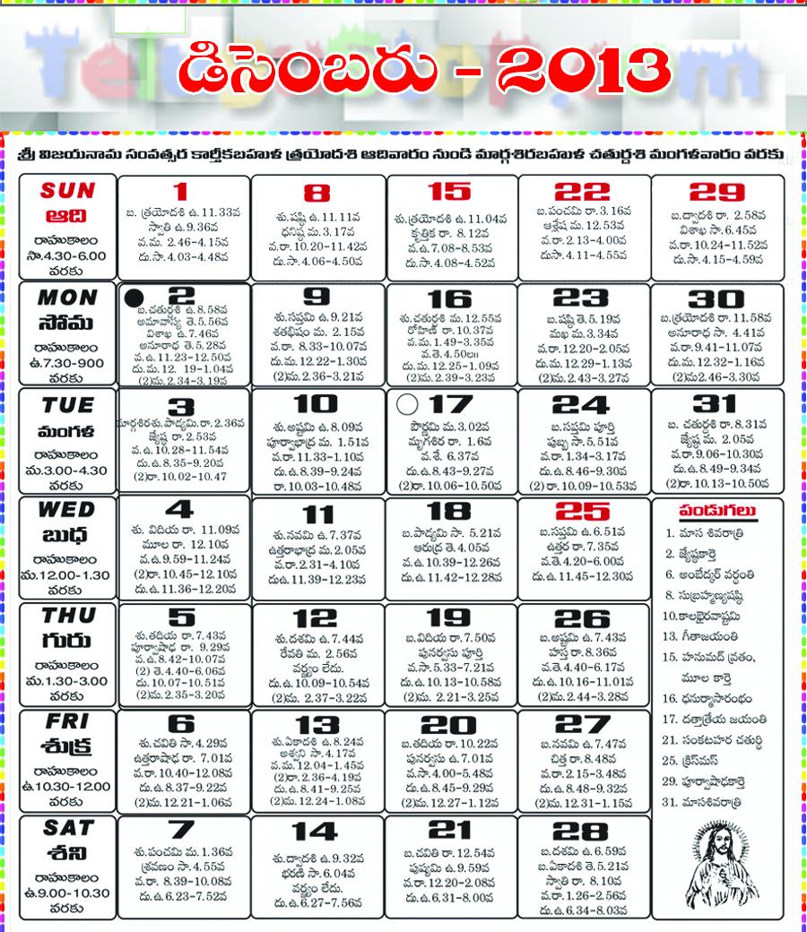 Telugu Calendar December 2013
