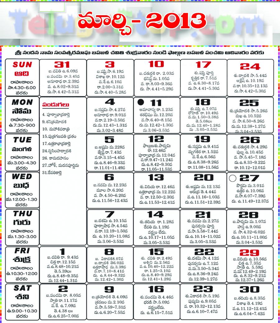 Telugu Calendar March 2013