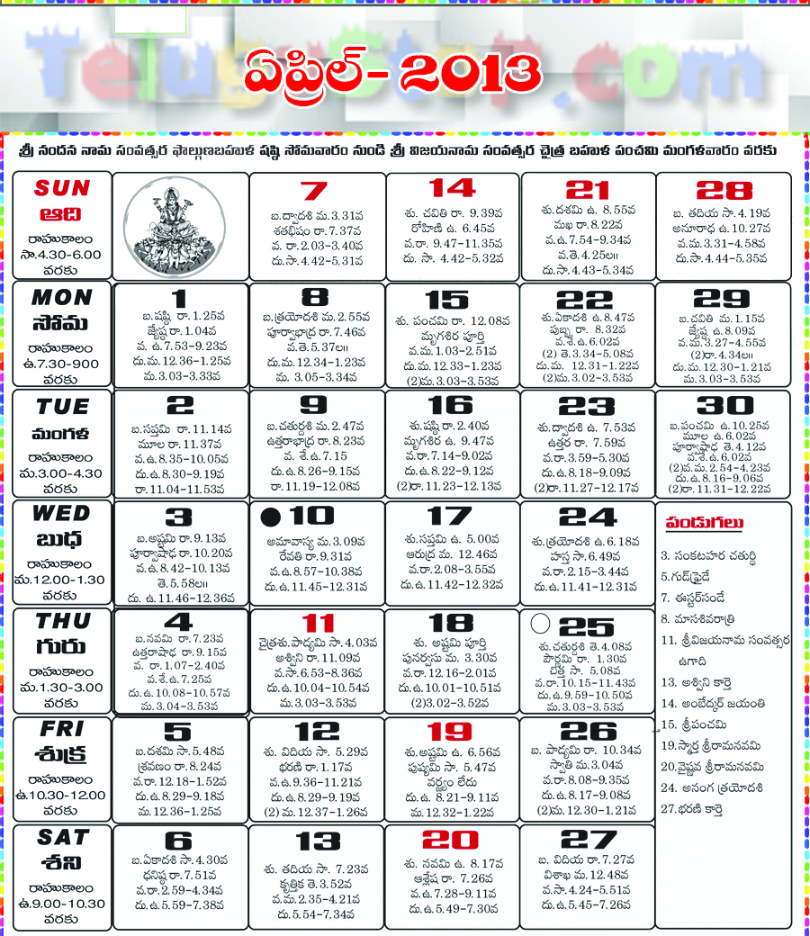 Telugu Calendar April 2013