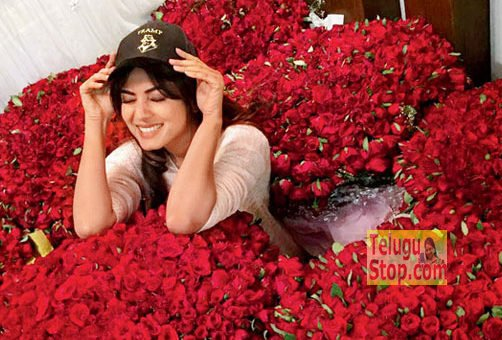 Who is proposing that actress with roses ?