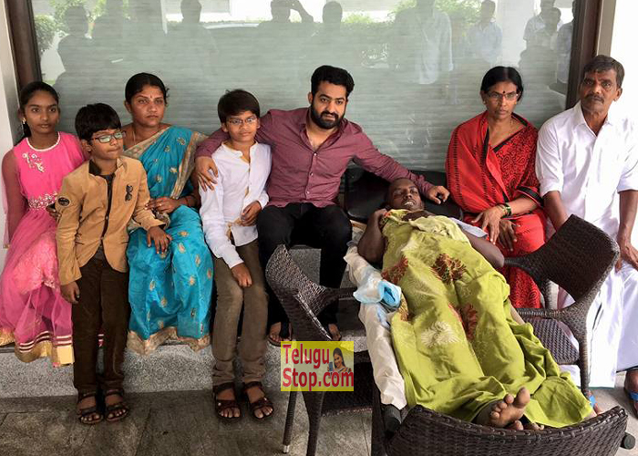 NTR with Cancer Patient Nagarjuna Photos
