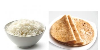 Rice, chapati, Carbohydrates, Proteins and Iron