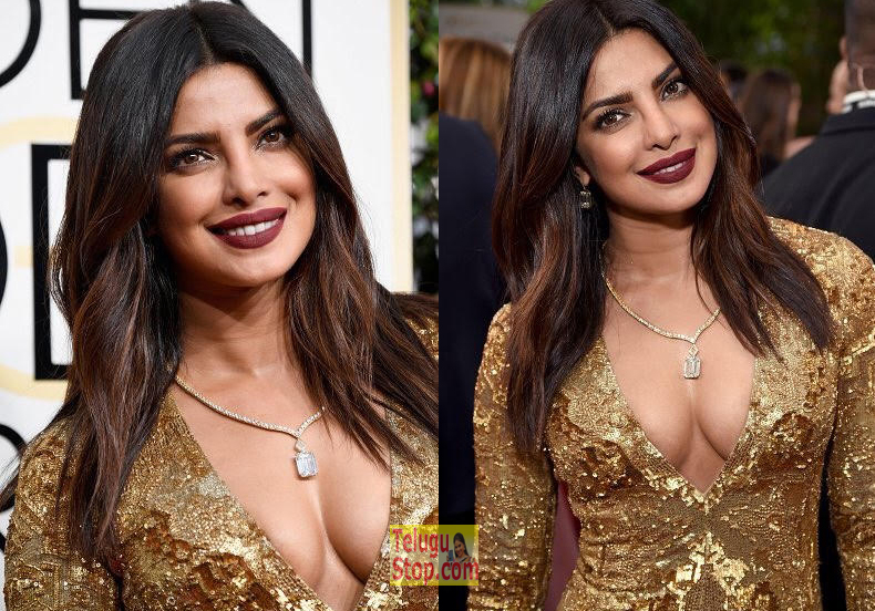 Priyanka chopra cleavage show golden globe awards