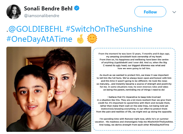 Sonali Bendre On Telling Son Ranveer About Her Cancer Diagnosis-
