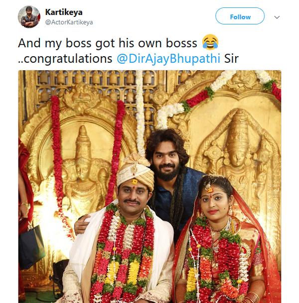 RX 100 Movie Hero Karthikeya Tweet About Ajay Bhupathi Marriage-