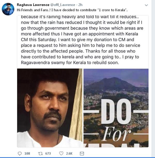 Raghava Lawrence To Donate Rs 1 Crore Towards Relief Fund-