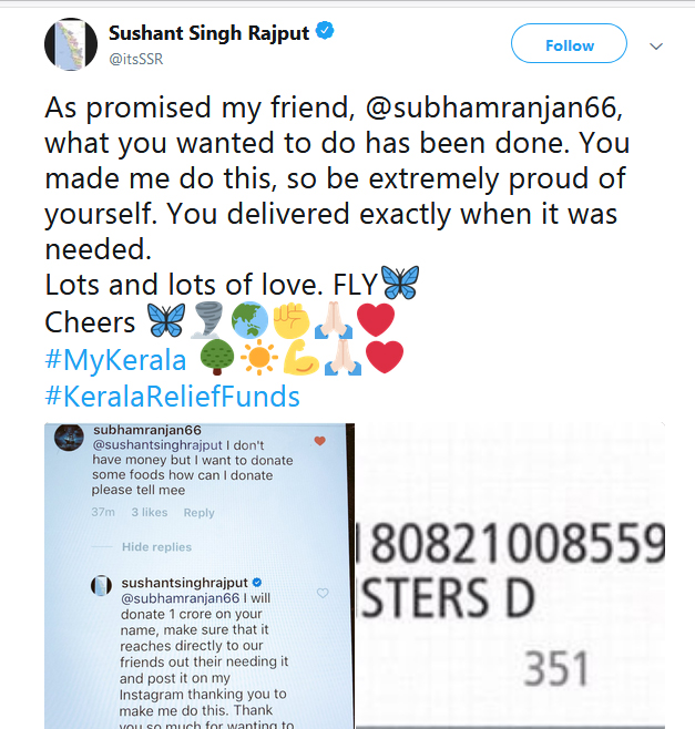 Sushant Singh Rajput Donates One Crore On Behalf Of A Fan-