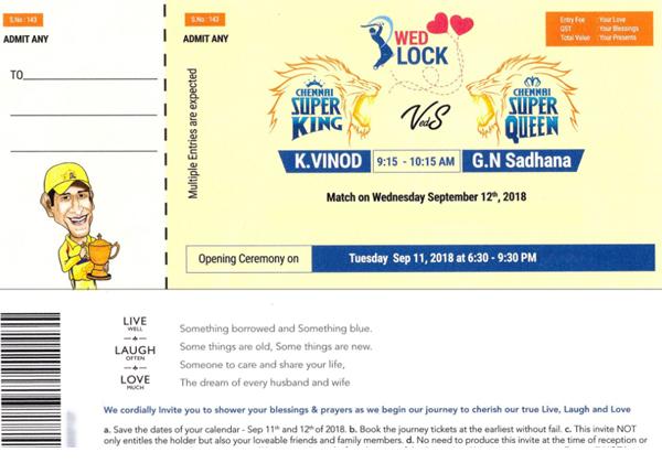 CSK Match Ticket-Inspired Wedding Invitation Card by a MS Dhoni's Fan-CSK Match Ticket-Inspired Wedding Invitation Card,CSK Wedding Card Ticket,MS Dhoni's Fan,Wedding Invitation Card By A MS Dhoni's Fan