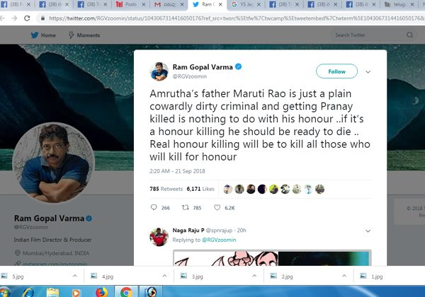 Ram Gopal Varma Comments On Amrutha Fathers-