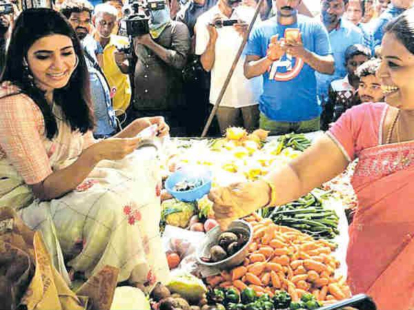 Samantha Sells Vegetables At The Market-