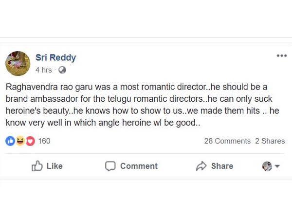 Sri Reddy Twitter Comments On Director Raghavendra Rao-