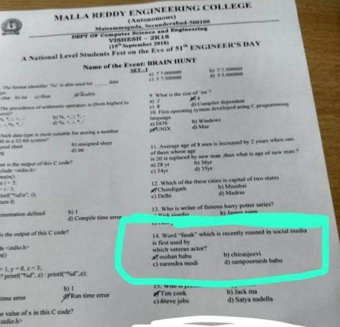 Who is use pasak word, malla reddy college question paper-Mohan Babu,Narendra Modi,pasak Word,question Paper