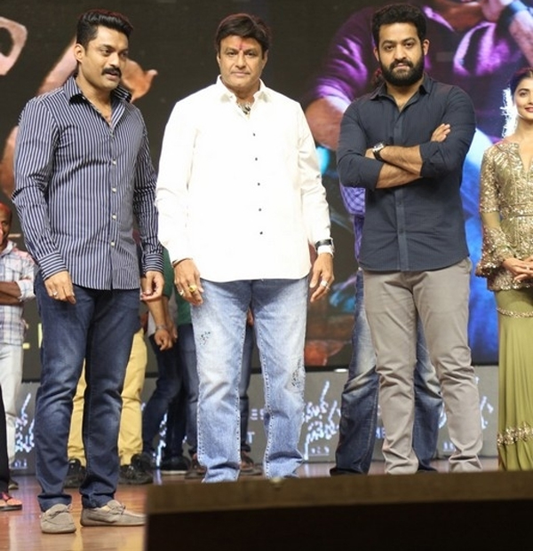 Balkrishna With Ntr At Aravinda Sametha Success Meet-