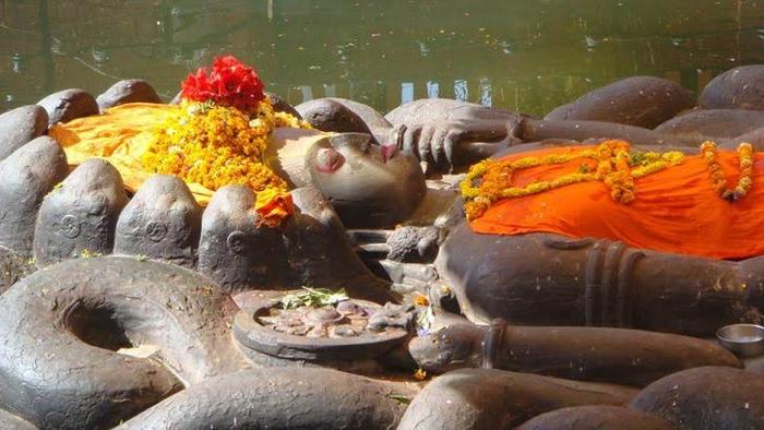 Sleeping Floating Vishnu  Shiva Underneath Budha Nikantha Tepmle-Marvelous Piece Of Sculpture Made Salagram Stone