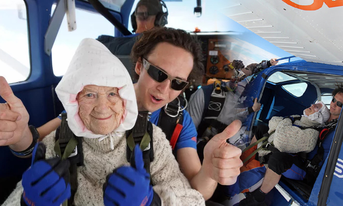 102-year-old Woman May Just Be The Oldest Skydiver Ever- Telugu Viral News 102-year-old Woman May Just Be The Oldest Skydiver Ever--102-year-old Woman May Just Be The Oldest Skydiver Ever-