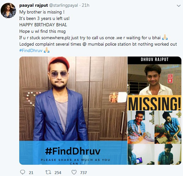 Payal Rajput Emotional Tweet About Her Brother-Missing Payal Brother Dhruv Three Years