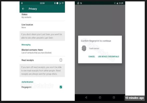 Whatsapp Working New Finger Print Authenticarion-