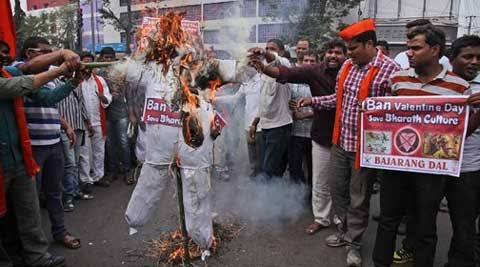 Hindu Activists Serious Protest Against Valentine Day--Hindu Activists Serious Protest Against Valentine Day-