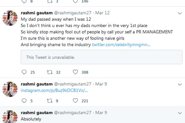 Rashmi Gautham Strong Responds To The Fake PR Agency For Tricking-Pr Rashmi Father Number Tricking