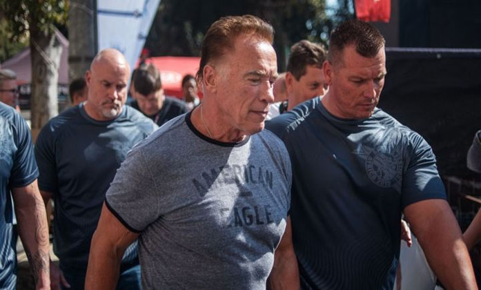 Arnold Schwarzenegger Drop-kicked At South Africa Event--Arnold Schwarzenegger Drop-kicked At South Africa Event-