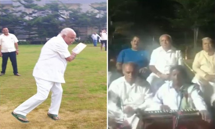 Bs Yeddyurappa Plays Cricket With Party Legislators--BS Yeddyurappa Plays Cricket With Party Legislators-