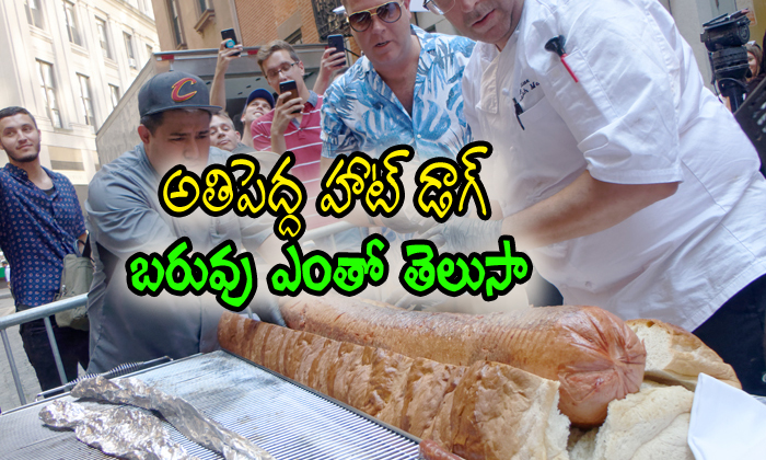 Guinness World Record With Huge Hot Dog Weighing 66 Pounds--Guinness World Record With Huge Hot Dog Weighing 66 Pounds-