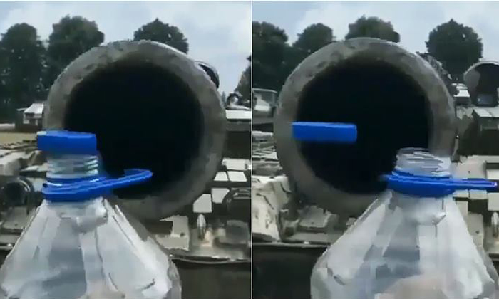 Military Tank Used For Bottle Cap Challenge- Telugu Viral News Military Tank Used For Bottle Cap Challenge--Military Tank Used For Bottle Cap Challenge-