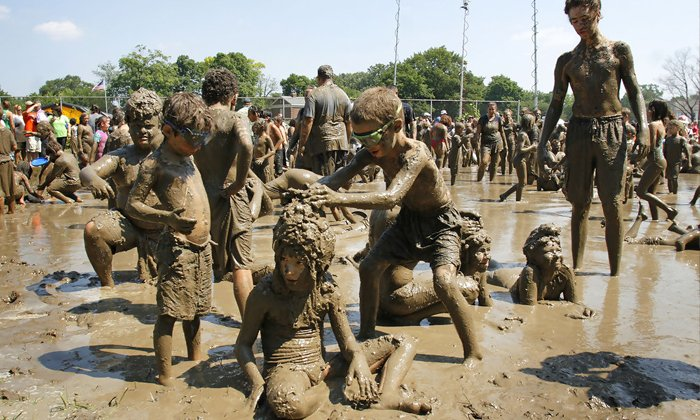 Mud Day Celebrations In West Land--Mud Day Celebrations In West Land-