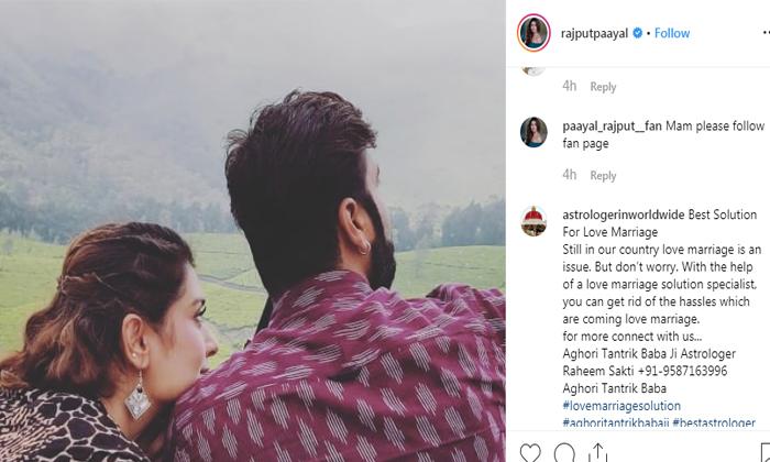 Rx100 బ్యూటీ సీక్రెట్ బాయ్ ఫ్రెండ్ ఎవరో?- Telugu Tollywood Movie Cinema Film Latest News-Payal Rajput Boyfriend Pic Viral In Social Media-