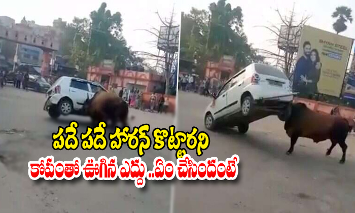 Angry Bull Overturns Car In Bihar-overturns Car In Bihar,telugu Viral News Updates,viral In Social Media-Angry Bull Overturns Car In Bihar-Overturns Bihar Telugu Viral News Updates Social Media