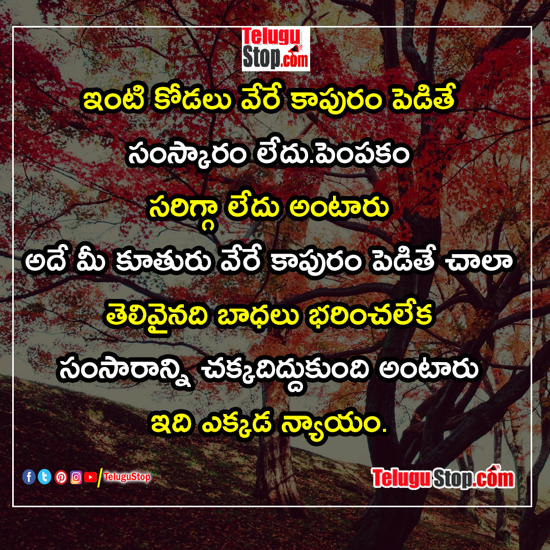 Broken family relationships fake relatives quotes in telugu Inspirational Quote