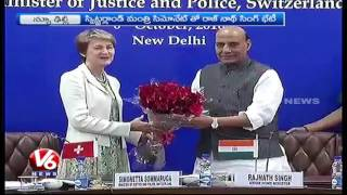 Rajnath Singh Meets Switzerland Minister Simonetta | New Delhi | V6 News. Photo,Image,Pics