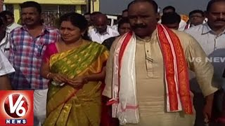 Home Minister Nayani lays foundation for development works at Yadadri Temple | V6 News
