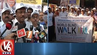 World Sight Day | Minister Laxma Reddy Flags Off World Blind Walk At KBR Park | Hyderabad | V6News