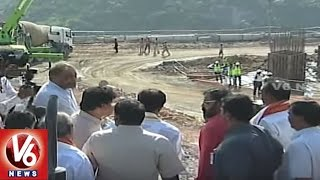 CM KCR Arrives Yadadri | Inspects Development Works Of Temple City | V6 News