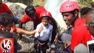 Telangana Adventure Club Conducted Rappelling At Gayatri Waterfalls | Adilabad | V6 News