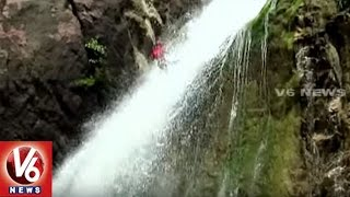 Gayatri Waterfalls Attracts Tourists | Final Day Of Water Rappelling Competitions | Adilabad | V6