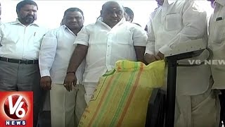 Minister Jogu Ramanna Inaugurates Soya Bean Purchase Center | Adilabad | V6 News