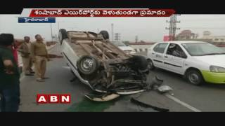 High speeding car rolls over in PV Express Way Flyover in Hyderabad