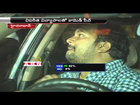 Drunk driver making fun with traffic police in Hyderabad (22-02-2015) Photo Image Pic